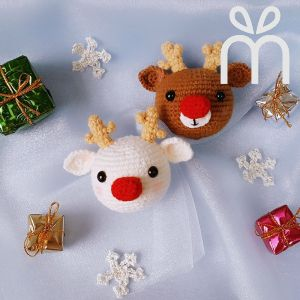 Crochet Christmas  Dream Deer Brooch Pin
