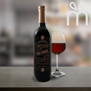 Personalised Red Wine Bottle With Text Engraving (002)