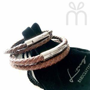 Braided Leather Bracelet - BROWN