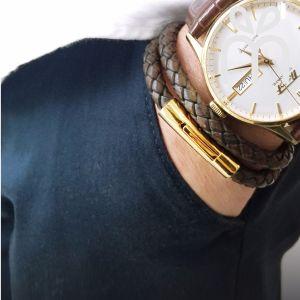 Braided Leather Bracelet- VINTAGE BROWN