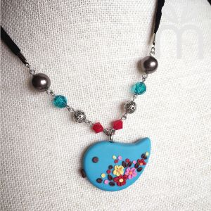 Pendant Necklace Baby Bird - Clay Art