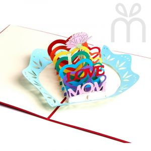 Handmade 3D Greeting Card - I Love Mom (Mother's Day)