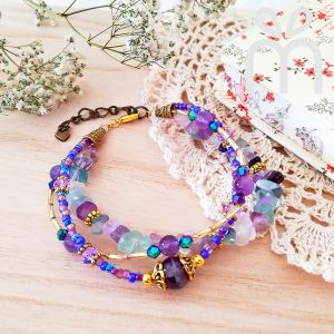 Handmade Gemstone Layers Bracelet 02 Purple (HGLB02)