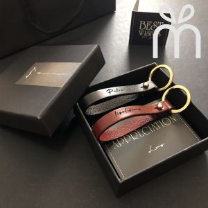 Personalised Essential Leather Couple Keychain Set