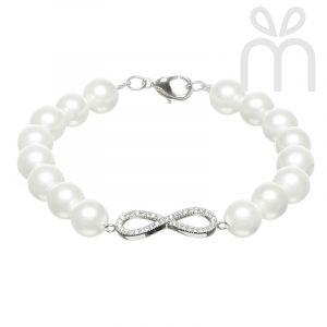Infinity White Shell Pearl Bracelet