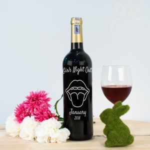 Personalised Red Wine Bottle With Text Engraving - Girls Night Out