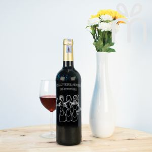 Personalised Red Wine Bottle With Text Engraving - Bridal Shower