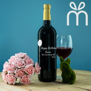 Personalised Red Wine Bottle With Text Engraving - Happy Birthday