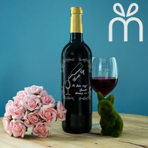Personalised Red Wine Bottle With Text Engraving - Wine Up. Its Your Birthday!
