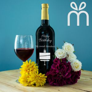 Personalised Red Wine Bottle With Text Engraving - My Sweet Daredevil