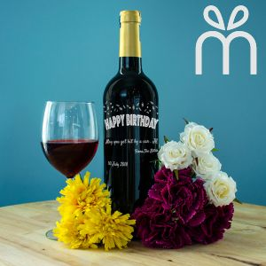 Personalised Red Wine Bottle With Text Engraving - Birthday Series