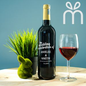 Personalised Red Wine Bottle With Text Engraving - The Wedding Celebration