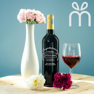 Personalised Red Wine Bottle With Text Engraving - Congratulation On Your Wedding