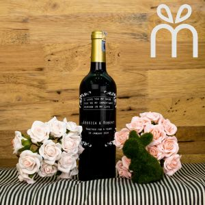 Personalised Red Wine Bottle With Text Engraving - Together Forever