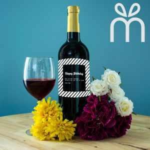 Personalised Red Wine Bottle With Text Engraving - Get 'em, Tigger