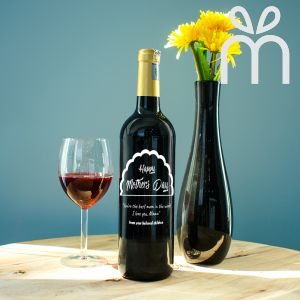 Personalised Red Wine Bottle With Text Engraving - Happy Mother's Day