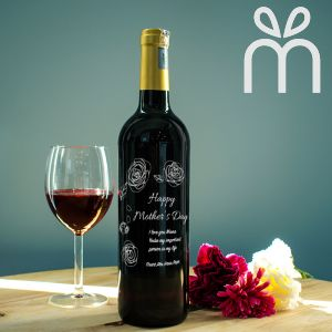 Personalised Red Wine Bottle With Text Engraving - For you,Mom