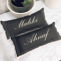 Custom Name Long Pillow (Black)
