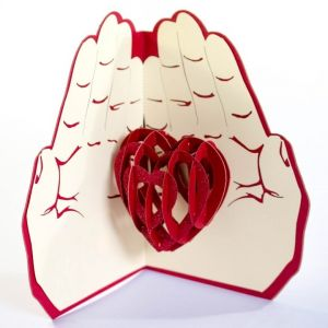Handmade 3D Greeting Card - Love In The Hand
