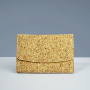 EcoQuote Tri Fold Envelope Compact Wallet Wristlet Handmade Cork Eco Friendly Material Great For Vegan, Environment Concious Friends