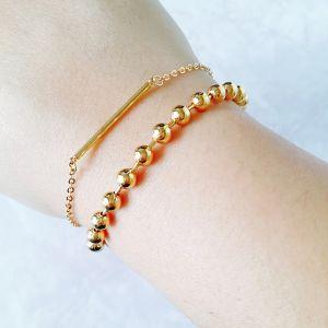 Minimalist Geometric Collection | Gold Plated Minimalist Geometric Layered Bracelet