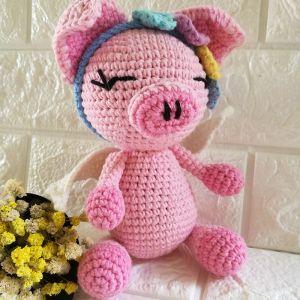 Handmade Amigurumi Angel Pig