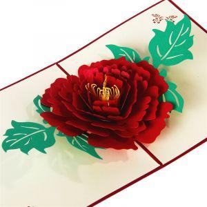 Handmade 3D Greeting Card - Red Peony
