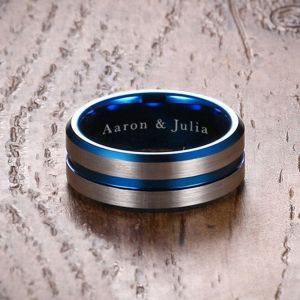 Personalised Tri-Blue Fashion Ring