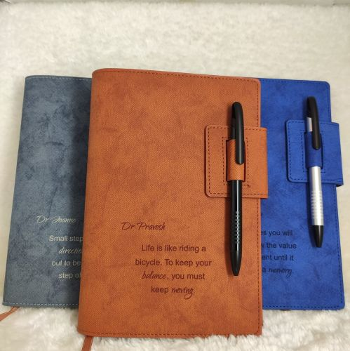Diary Notebook with PU Leather Cover [FREE Stainless Steel Pen] [FREE Name Engrave]