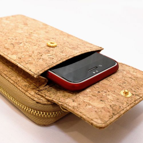 EcoQuote Stylish Zip Up Sling Phone Pouch Handmade Cork Eco-Friendly and Sustainable Material
