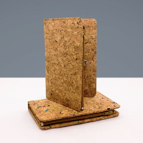EcoQuote Compact 2 Button Zip Wallet Handmade Eco-Friendly Cork Material, Sustainable & Great for Vegan