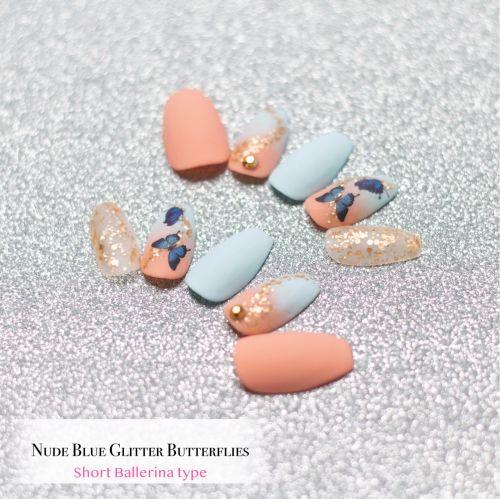 Nude Blue Glitter Butterflies Series