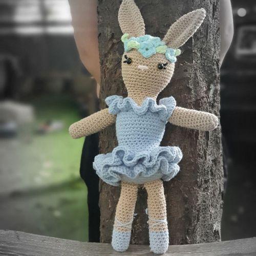 Crochet Ballerina Bunny Doll In Blue