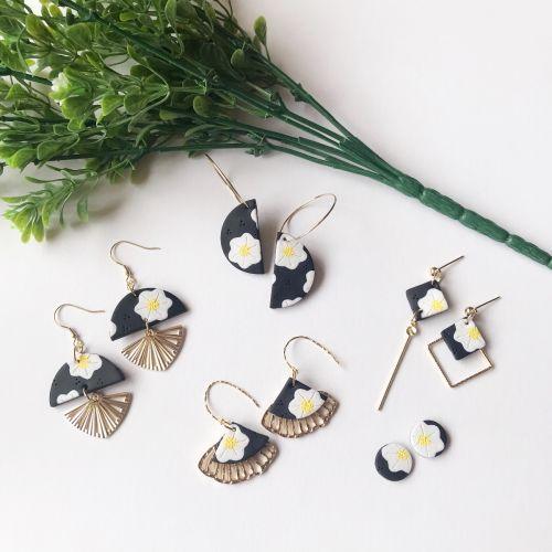Semi Circle Floral Earrings