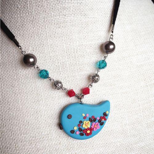 Pendant Necklace Baby Bird - Clay Art