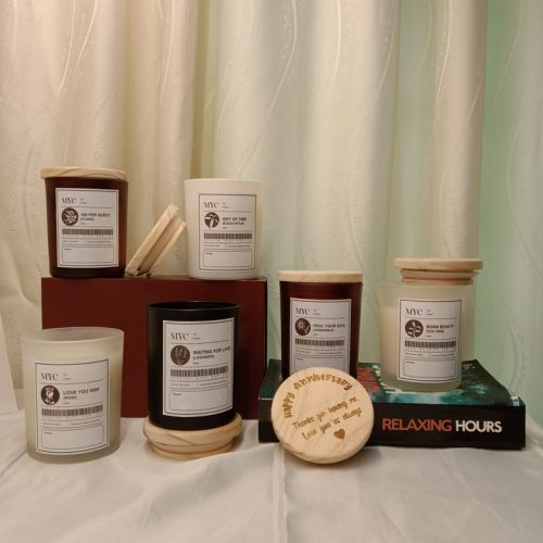 Scented Soy Candles Set With Personalised Engraving