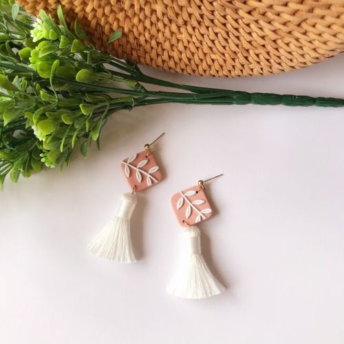 Handmade White Leaf & Tassel Earrings