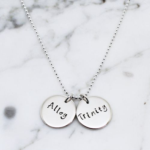 PERSONALISED DOUBLE DISC STERLING SILVER NECKLACE - Free Shipping
