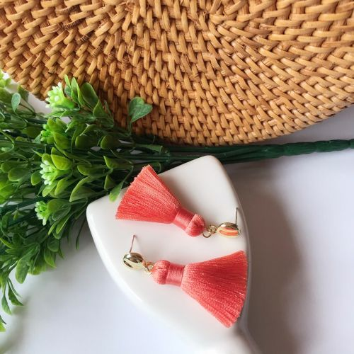 Classic Orange Tassel Earrings
