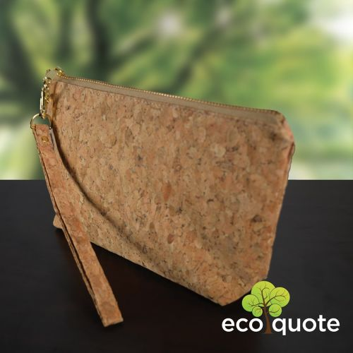 EcoQuote Round Medium Pouch Bag Handmade Cork Eco-Friendly Material For Vegan