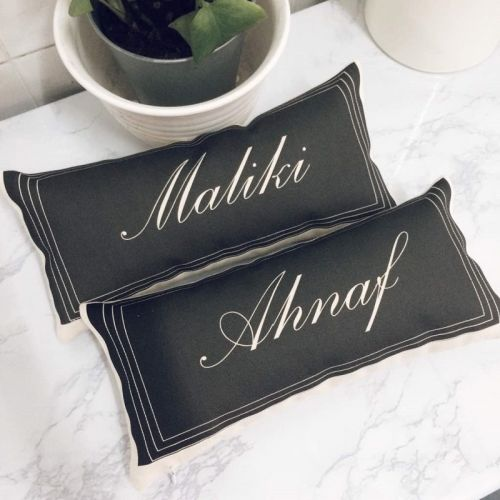 Custom Name Long Pillow (Black)