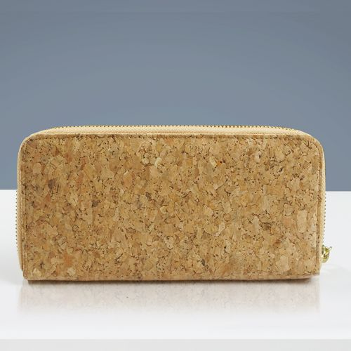 EcoQuote Zip Up Long Wallet Handmade Cork Eco Friendly Material Great for Vegan, Environment Concious Friends & Unique in Heart
