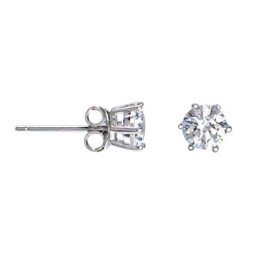 Kelvin Gems 6 Prong Solitaire Stud Earrings Made With Swarovski Zirconia