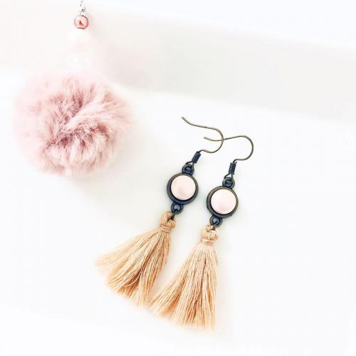 Tassel in Beige Earrings