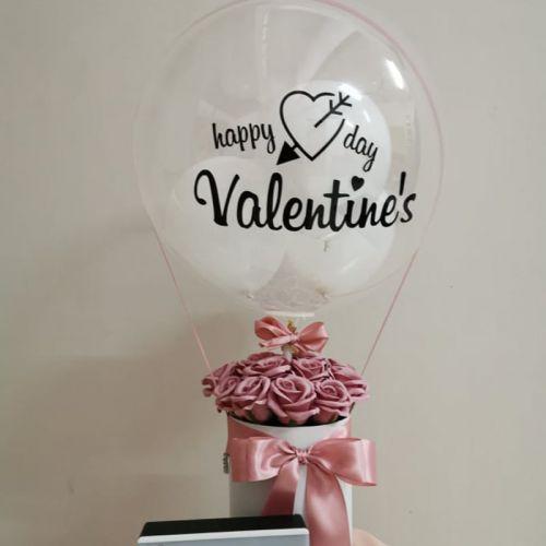 Soap rose hot air balloon  flower box
