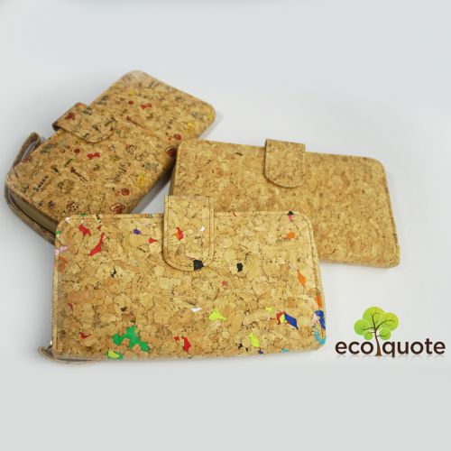 EcoQuote Long Wallet Wristlets Zip Button Eco-Friendly Cork Material For Vegan