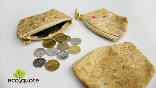EcoQuote Medium Coins Bag Hadmade Eco-Friendly Cork Material Great for Vegan