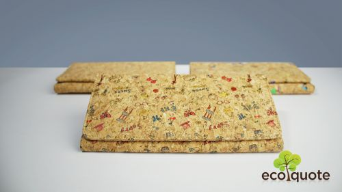 EcoQuote Long Wallet Square Design Button 1 Zip Handmade Eco-Friendly Cork Material Great For Vegan, Environment Concious & Sustainable