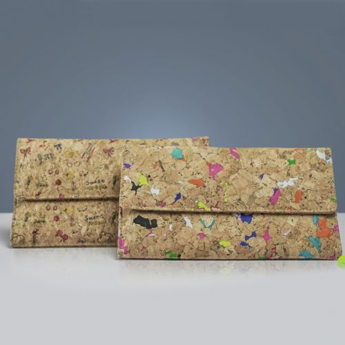 EcoQuote Handmade Tri-Fold Letter Long Wallet Wristlet Eco-Friendly Cork Material, Sustainable & Great For Vegan