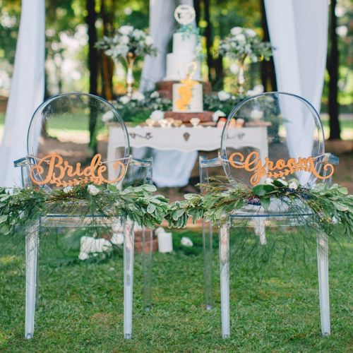 Wooden Bride & Groom - Chair Signage